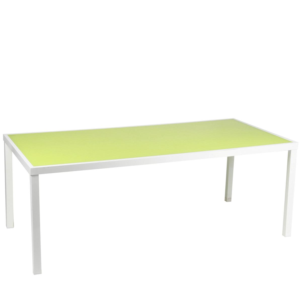 Table stockholm dim 210 x 100 cm aluminum blanc plateau en verre vert jardin for Plateau en verre