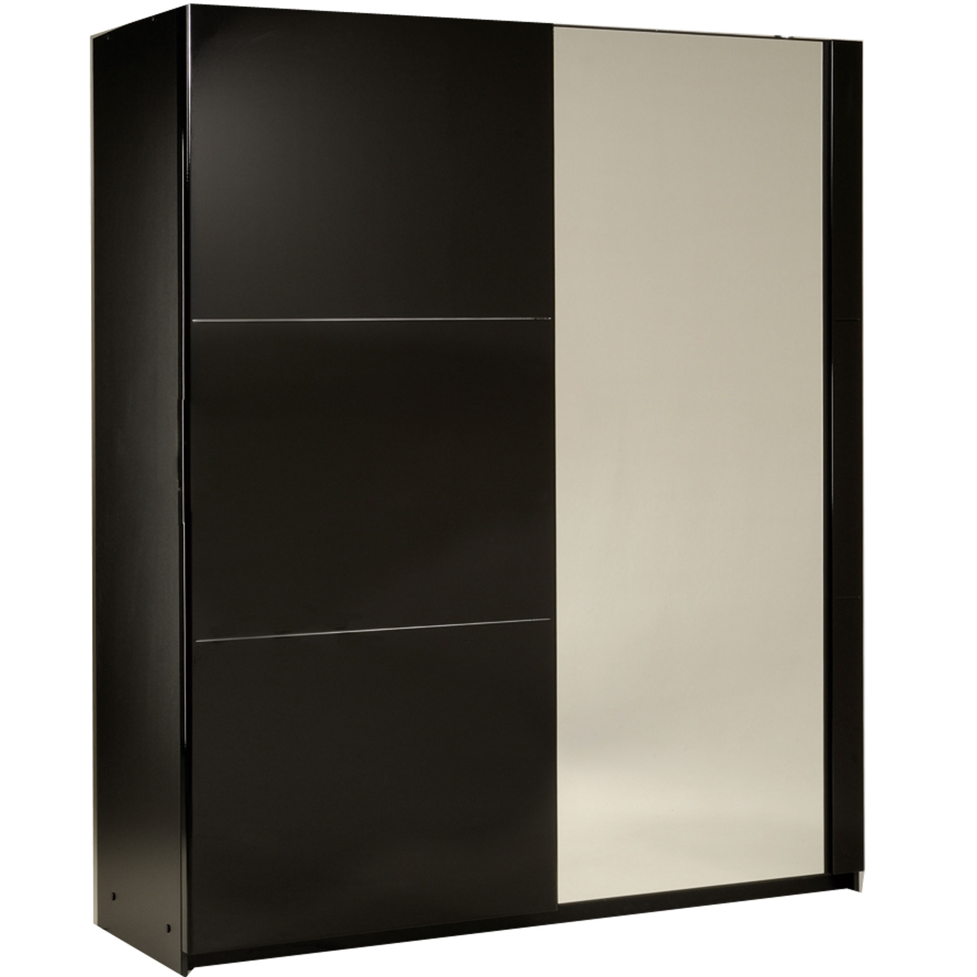 armoire 2 portes coulissantes amber laqu noir. Black Bedroom Furniture Sets. Home Design Ideas