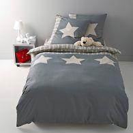 housse de couette pur coton cru gris etoiles acheter ce produit au meilleur prix. Black Bedroom Furniture Sets. Home Design Ideas