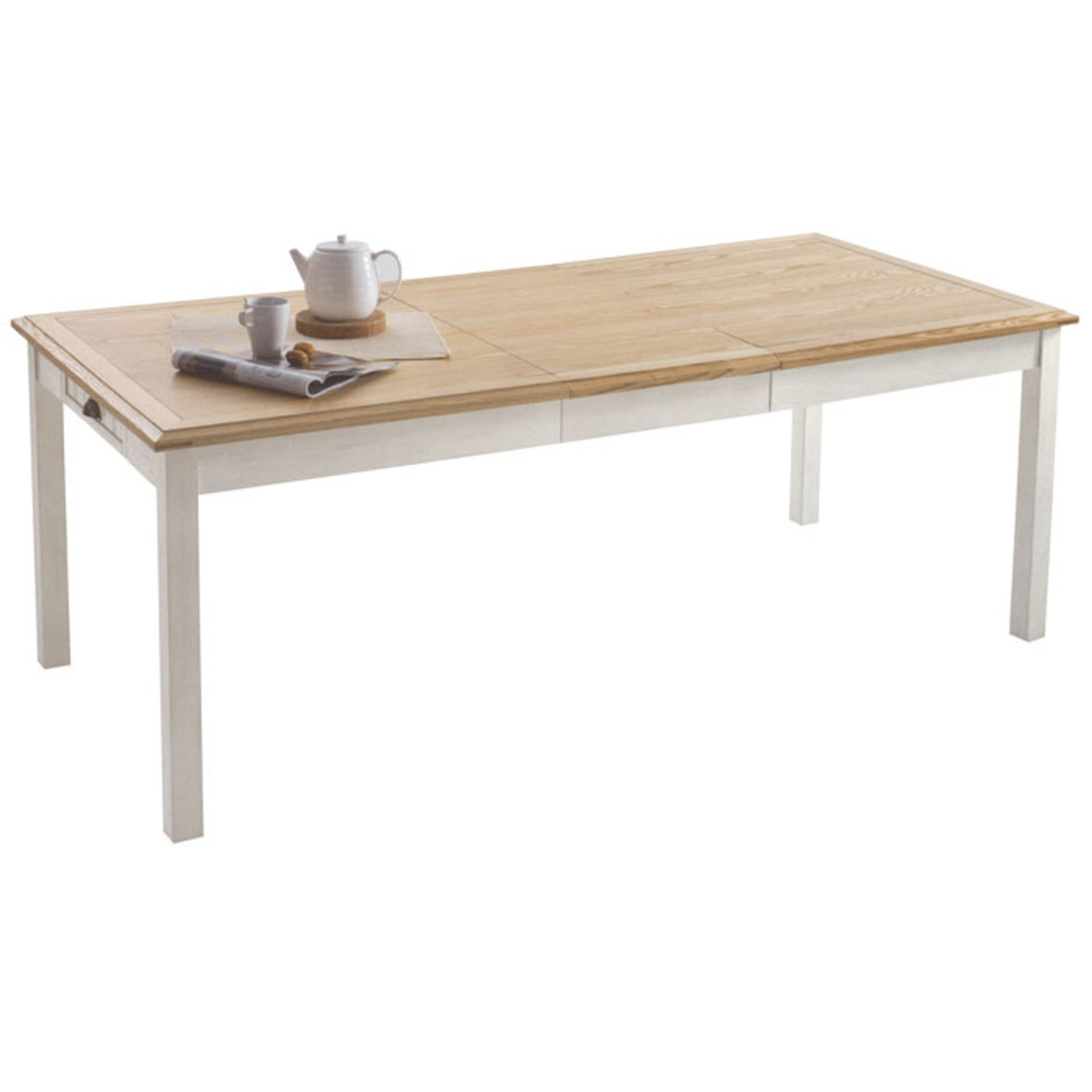 Table rectangulaire allonge berling blanc patin for Table blanche et bois