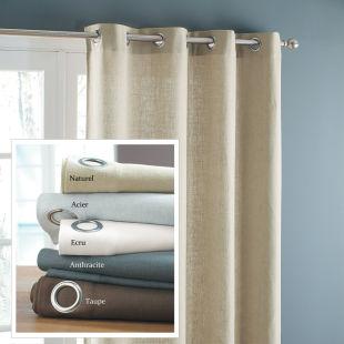Double rideau lin acier 140x300 acheter ce produit au - Double rideaux en lin ...