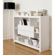Bibliothèque basse nara, 4 tiroirs - couleur:blanc - Acheter ce ...