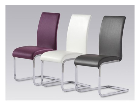 Lot de 4 chaises lirica simili cuir prune acheter ce for Chaise prune