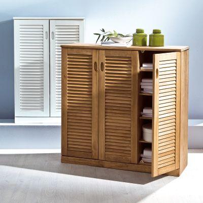meuble de rangement 2 portes persiennes en pin massif certifi fsc acheter ce produit au. Black Bedroom Furniture Sets. Home Design Ideas