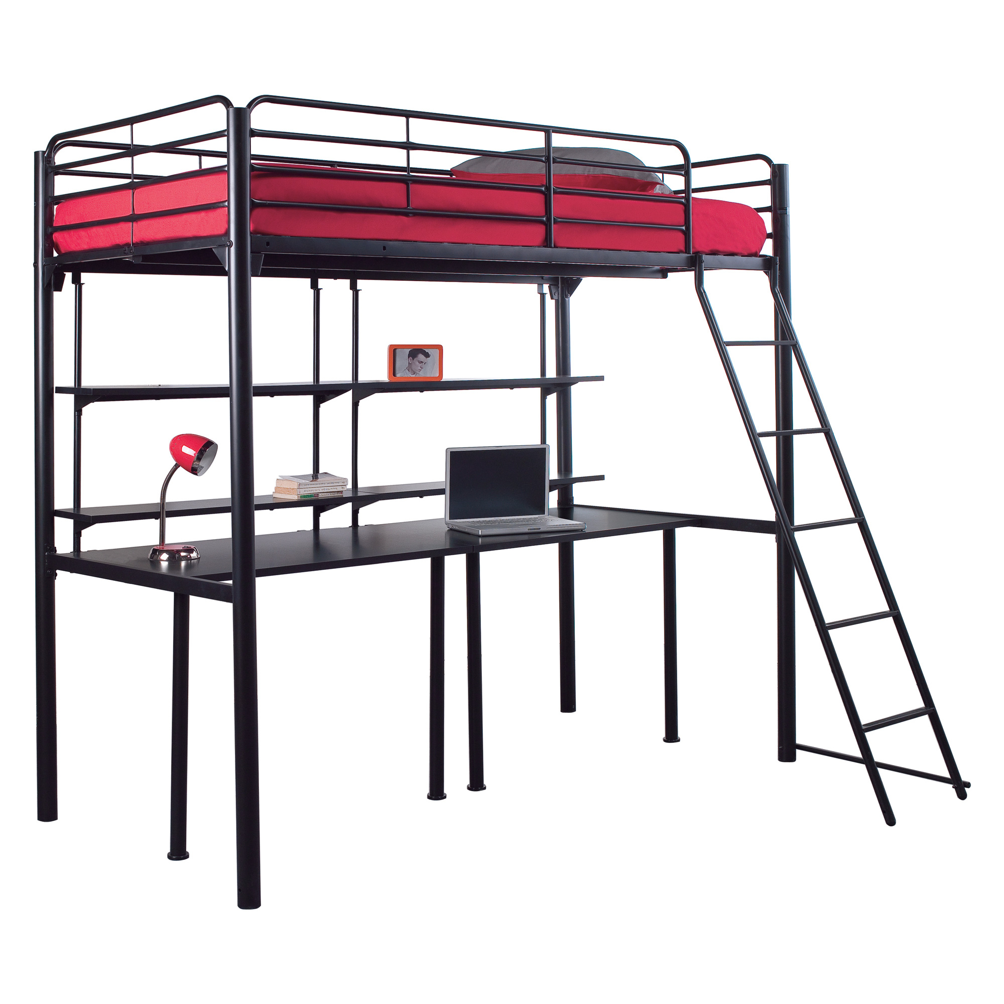 lit mezzanine 90 x190 cm sommier new line noir frais. Black Bedroom Furniture Sets. Home Design Ideas