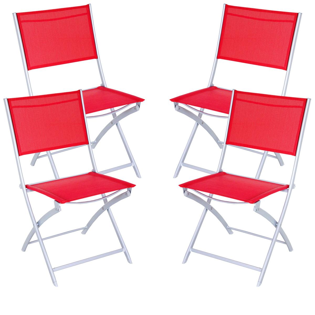 Lot de 4 chaises pliantes aluminium et texaline jardin acheter ce produit a - Lot de chaises pliantes ...