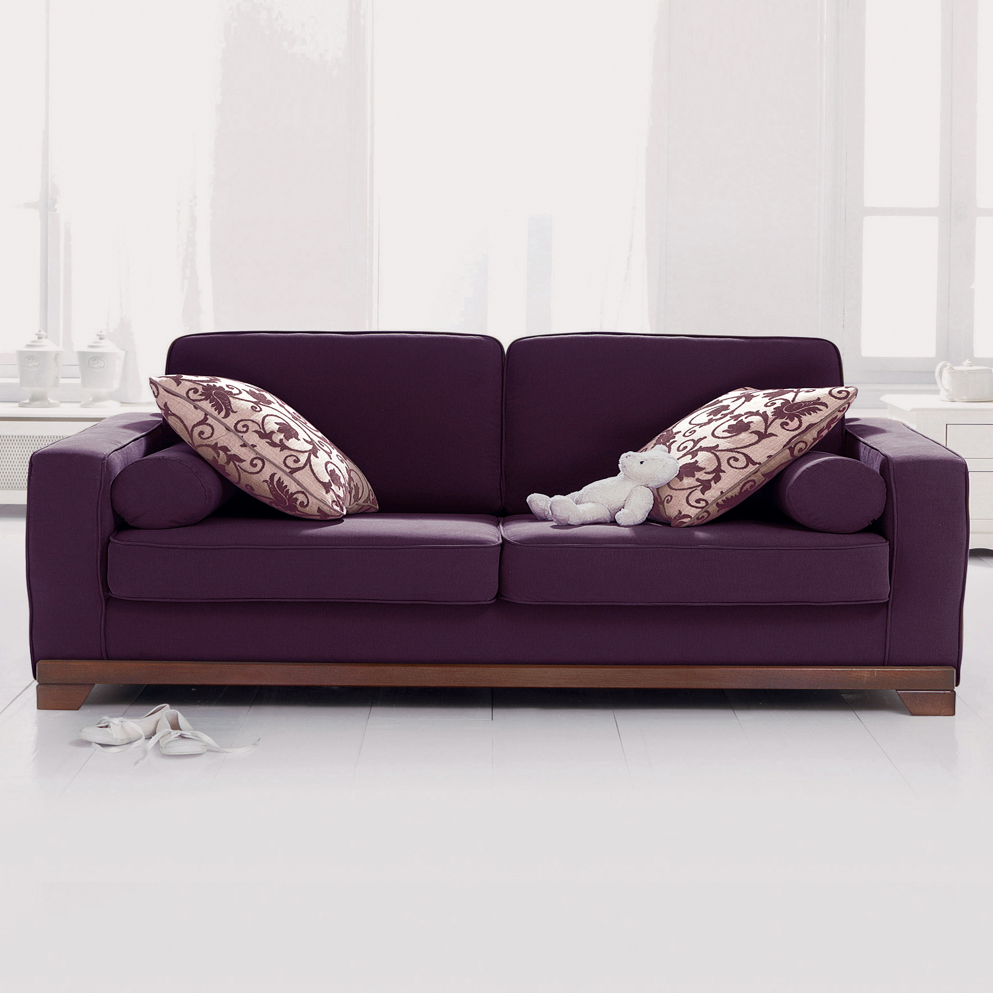 canap 3 places convertible neuilly aubergine. Black Bedroom Furniture Sets. Home Design Ideas