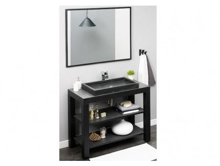 Meuble de salle de bain blackjack avec vasque pos e et tag res en pierre noi - Meuble salle de bain avec vasque posee ...