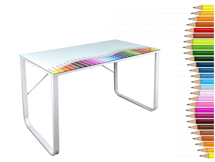 Bureau Colours Plateau Verre Tremp 8mm Images Frompo