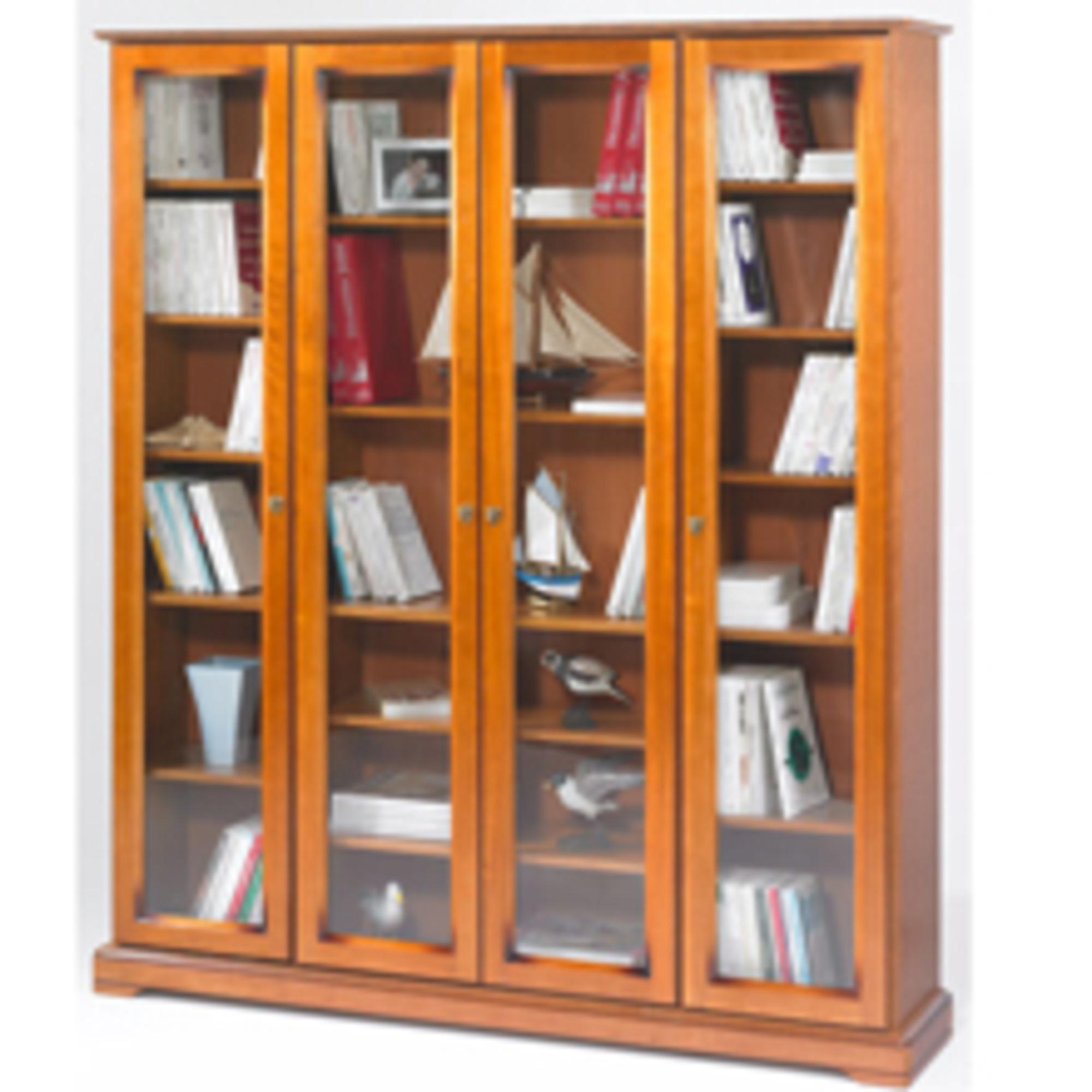 Biblioth que 4 portes vitr es style louis philippe alsace merisier annive - Prix portes interieures vitrees ...