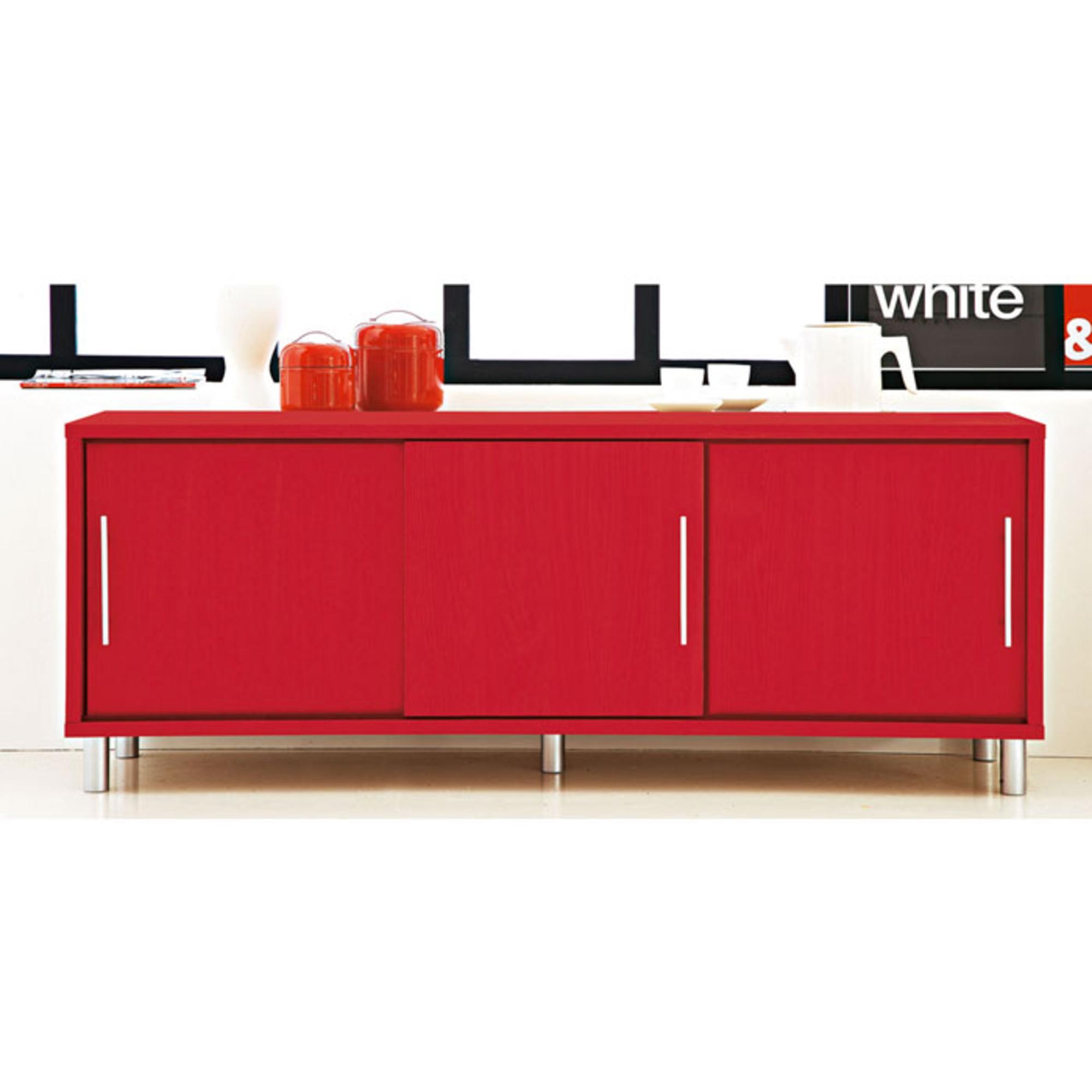 bahut bas 3 portes waldo rouge anniversaire 40 ans acheter ce produit au meilleur prix. Black Bedroom Furniture Sets. Home Design Ideas