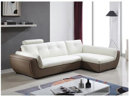 Salon d 39 angle cuir de buffle murphy bicolore blanc et taupe angle gauche acheter ce - Salon blanc et taupe ...