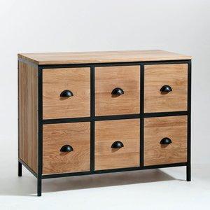 meuble 6 tiroirs edito teck et mtal