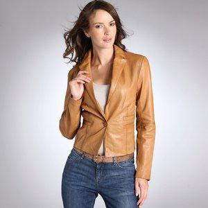 Veste cuir marron femme cintree