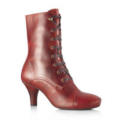 Extrêmement Bottines à lacet coloris rouge cuir fly london modèle aura femme  CJ38