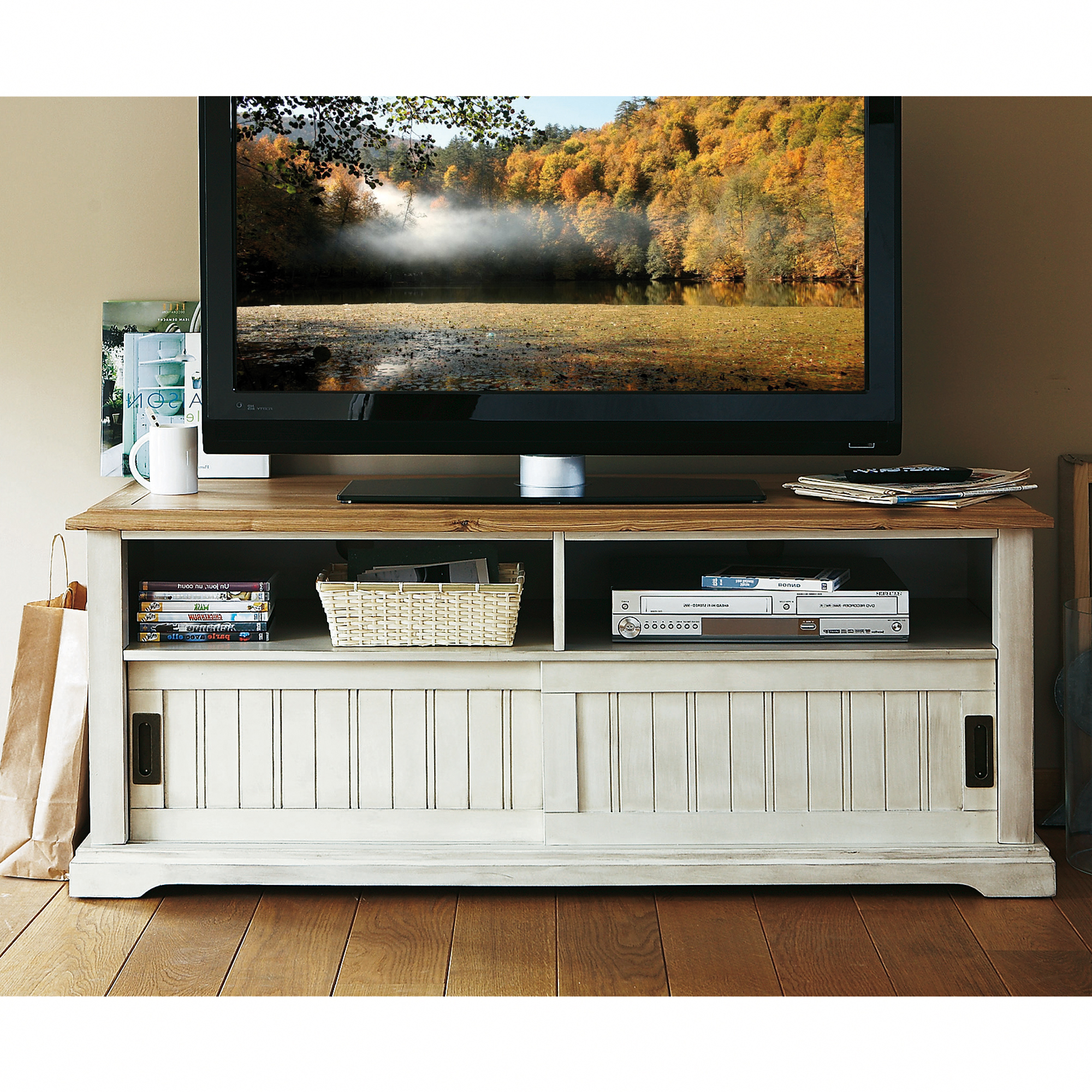 Tv ecran plat blanc images for Meuble tv ecran plat