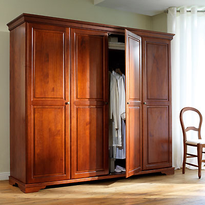 armoire 4 portes style louis philippe merisier. Black Bedroom Furniture Sets. Home Design Ideas