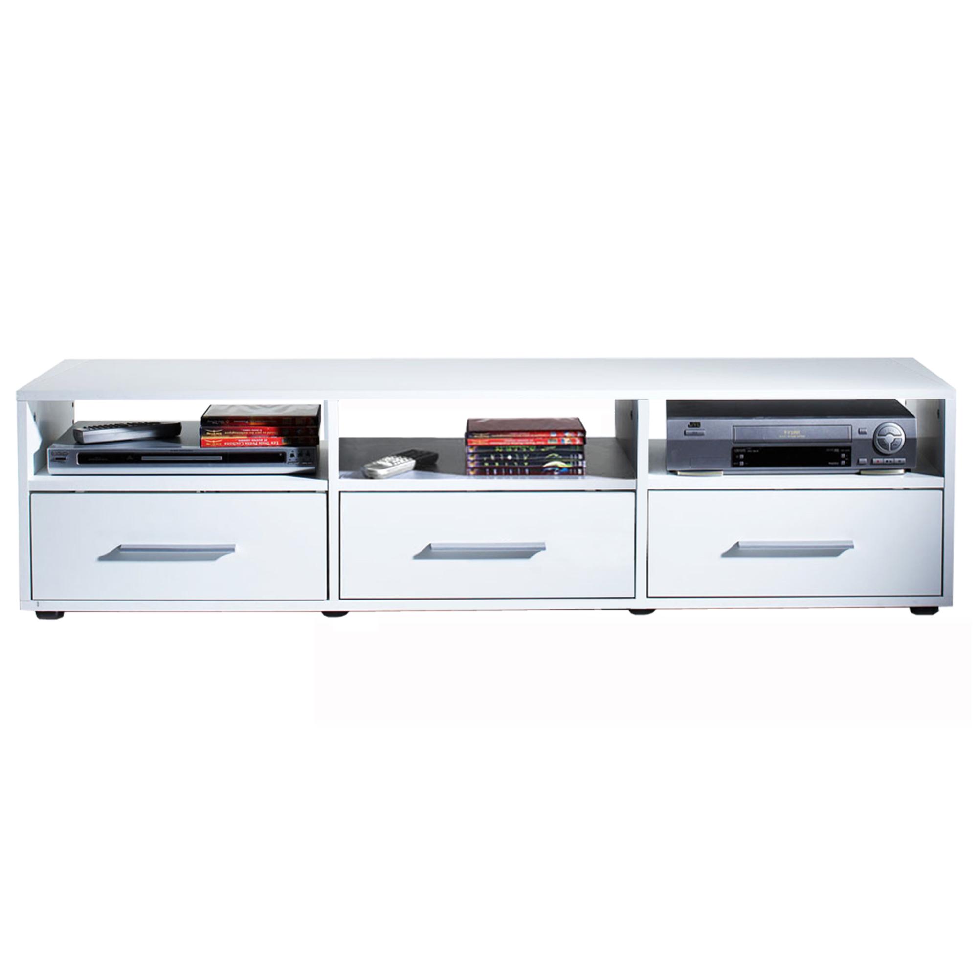 Meuble tv cran plat 3 tiroirs citizen blanc for Les meubles a tiroirs plats