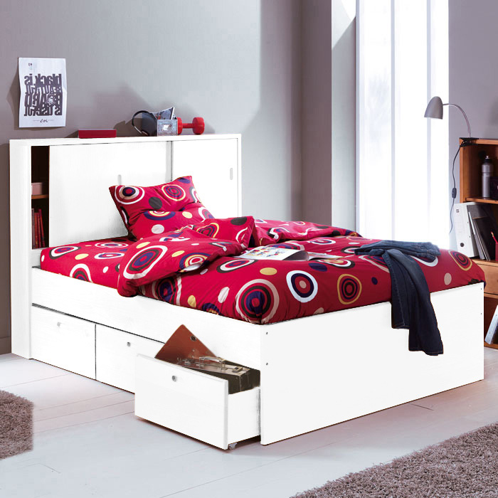 lit tiroir 140 blanc. Black Bedroom Furniture Sets. Home Design Ideas