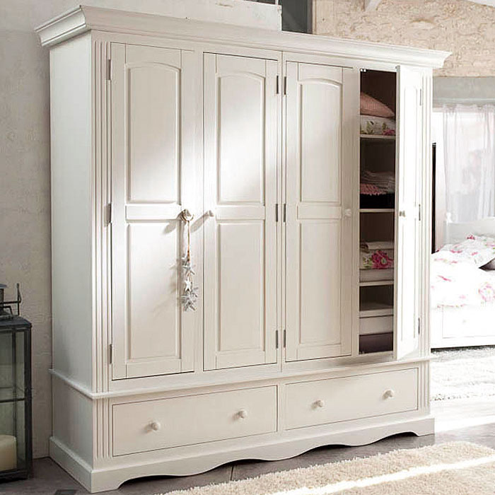 armoire 4 portes 2 tiroirs norman blanc anniversaire 40. Black Bedroom Furniture Sets. Home Design Ideas
