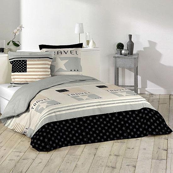 parure de lit motifs drapeau am ricain 100 coton acheter ce produit au meilleur prix. Black Bedroom Furniture Sets. Home Design Ideas