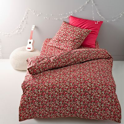 housse de couette motif fleuri en pur coton coloris rouge. Black Bedroom Furniture Sets. Home Design Ideas