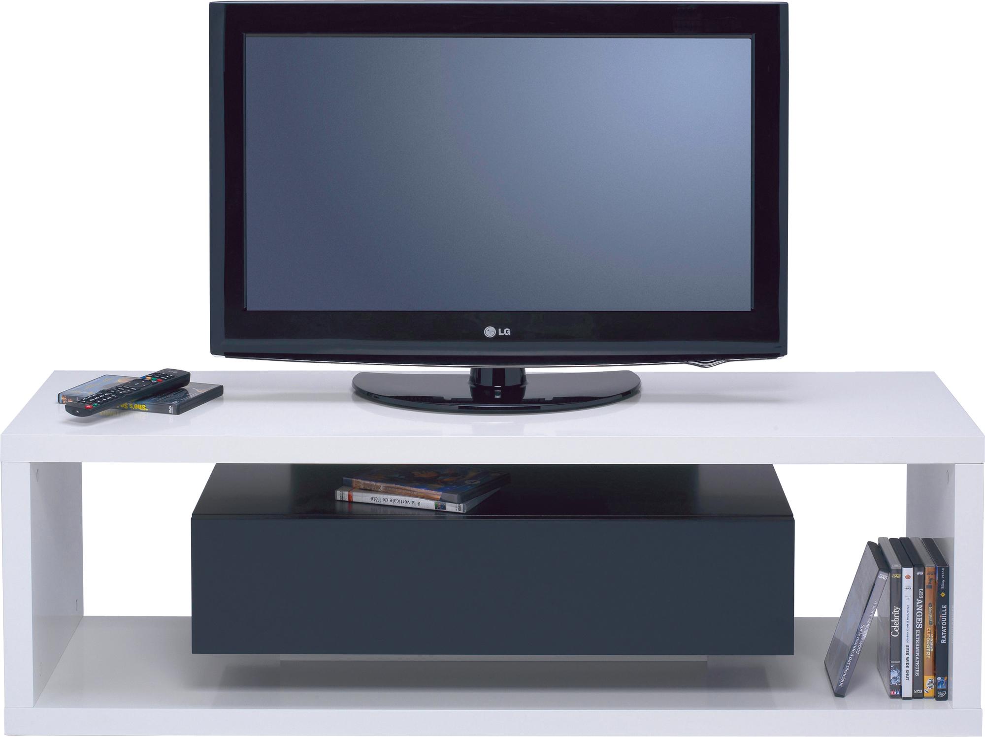 Meuble Tv Lift Blanc Tiroir Noir Anniversaire 40 Ans  # Meuble Tv Lift