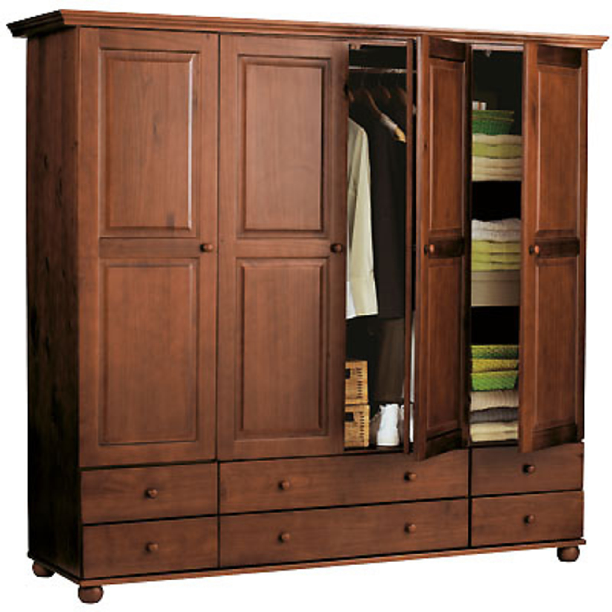 armoire 4 portes 6 tiroirs 1 2 penderie 1 2 ling re hauteur 180 cm annecy rustique. Black Bedroom Furniture Sets. Home Design Ideas