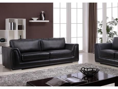 canap 3 places en cuir reconstitu morgan noir acheter ce produit au mei. Black Bedroom Furniture Sets. Home Design Ideas