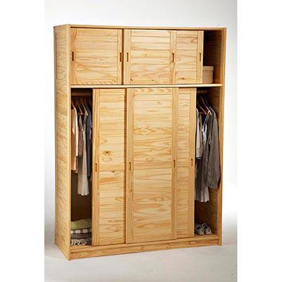 armoire 3 portes avec surmeuble m lissa naturel. Black Bedroom Furniture Sets. Home Design Ideas