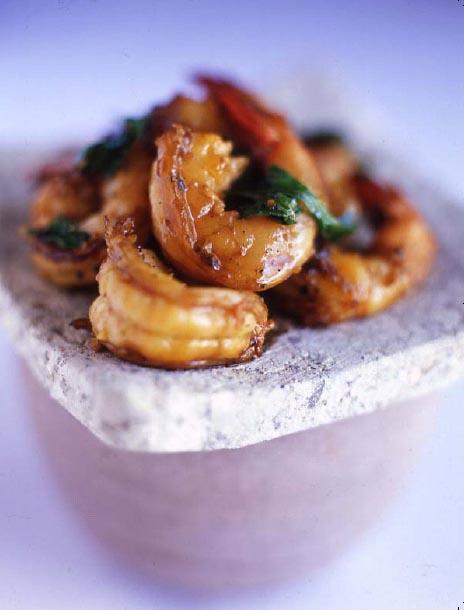 Courgettes et crevettes marinées au curry