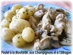 Poulet à la moutarde, à l'estragon et aux champignons