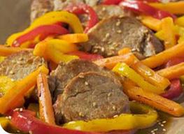 filet mignon de porc aux poivrons et sésame grillé