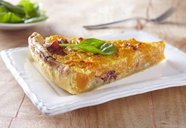 Tarte potimarron et châtaignes au jambon cru