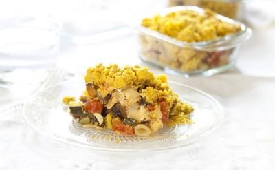 Crumble de poulet, légumes et curry