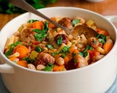 Macaronis et boulettes de bœuf aux carottes