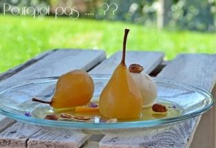 Poires pochées au vin - safran / gingembre / orange