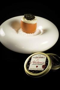 Oeuf brouillé crème légère vodka et citron vert, caviar Nouvelle Récolte Akitania