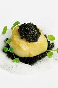 Saint jacques poêlée, risotto à l'encre de seiche, émulsion au parmesan, caviar Réserve Akitania