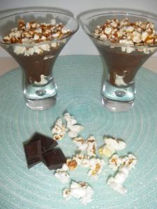 Mousse au chocolat caramel et pop corn