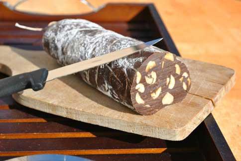 Saucisson trompe l'oeil en chocolat